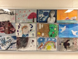 Showcasing art in the hallway. Emotion collages.