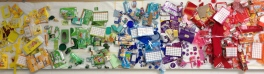 School collaborative wall of recycled materials.